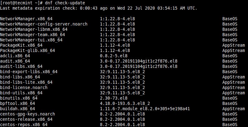 CentOS 8のアップデートを確認する