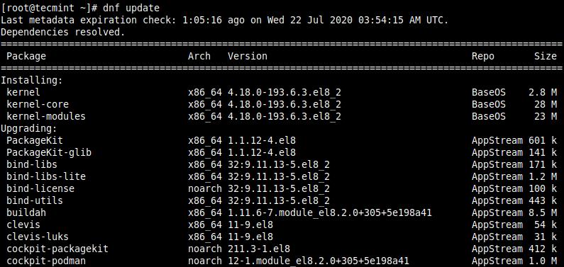 CentOS 8のアップデートをインストールする