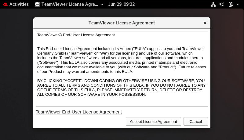 TeamViewerライセンス契約に同意する