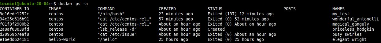 すべてのDockerコンテナを表示