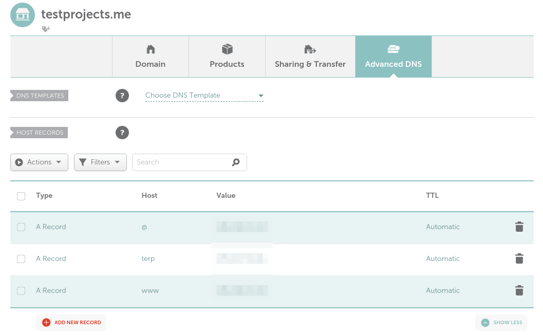 YiiアプリケーションのドメインAレコードを設定する