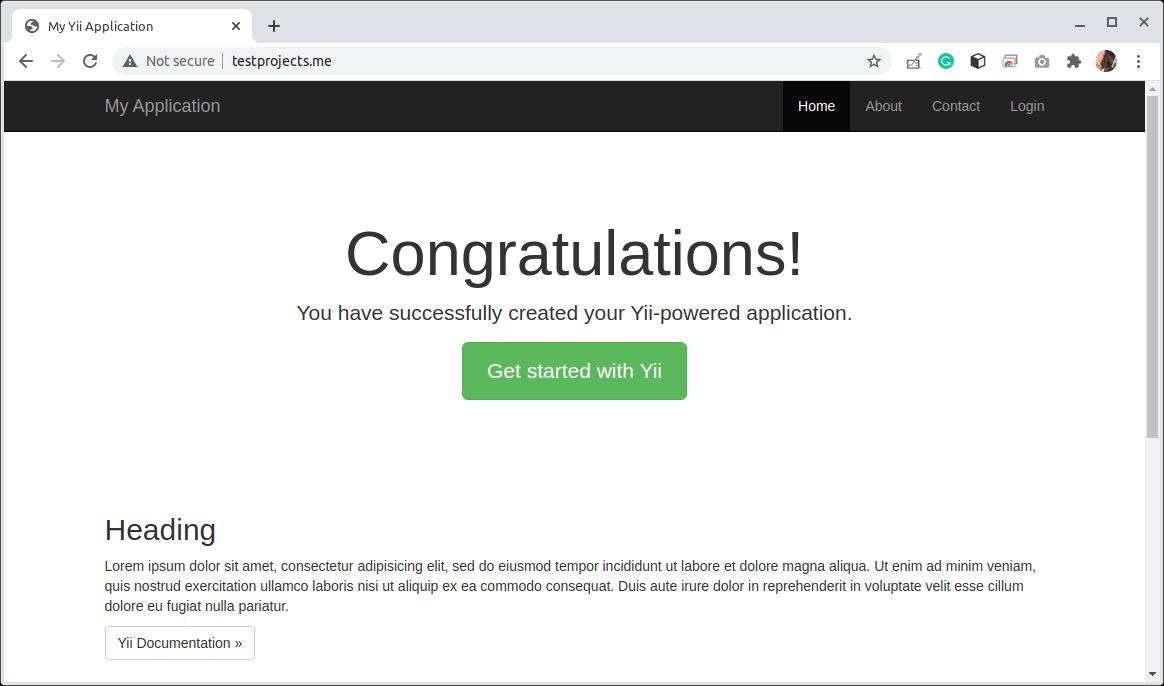 ドメインを使用してYiiアプリケーションにアクセスする