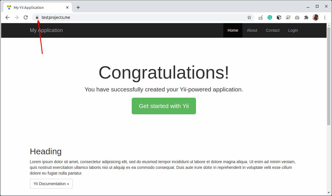 HTTPSで実行されるYiiアプリケーション