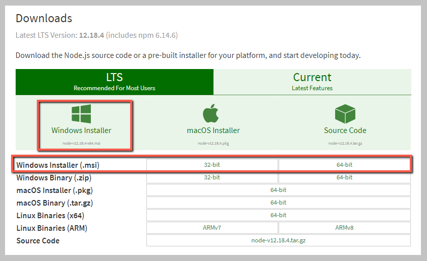 Windows用のNode.jsをダウンロードする