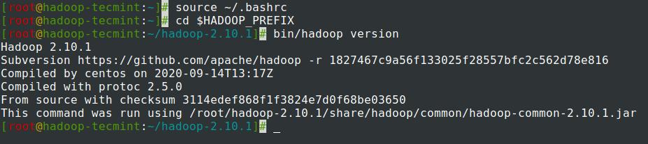 CentOS7でHadoopバージョンを確認する