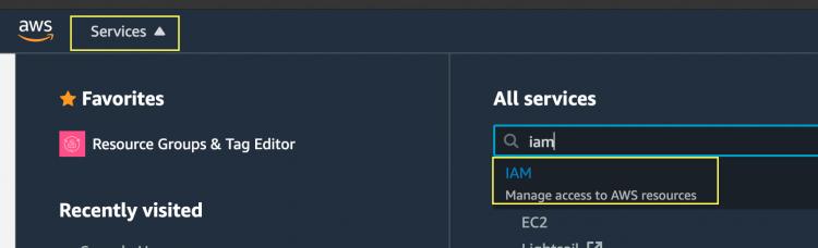 サービスリストからIAMを選択します