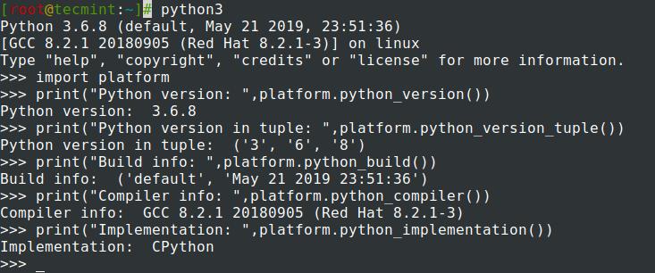Python情報を確認する