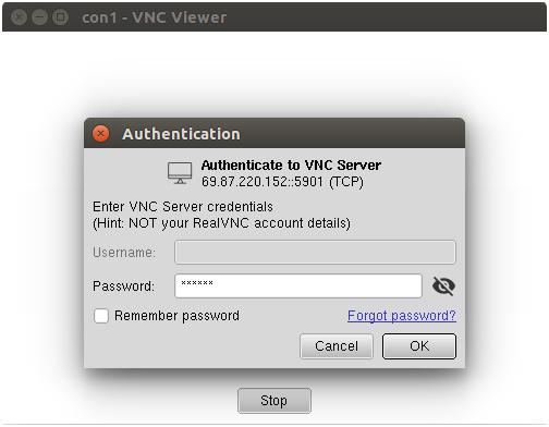 vncサーバーを接続します