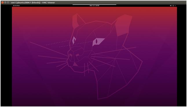 Ubuntu20.04に接続されたVNCビューアー