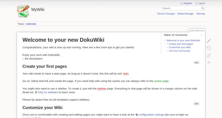 DokuWikiウェルカムページ