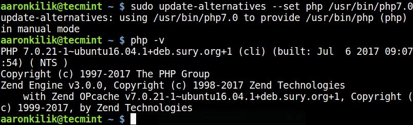 UbuntuでPHP7.0バージョンを設定する