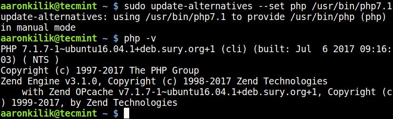 UbuntuでPHP7.1バージョンを設定する
