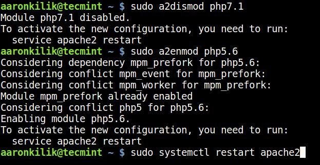ApacheのPHPモジュールを無効にするを有効にする