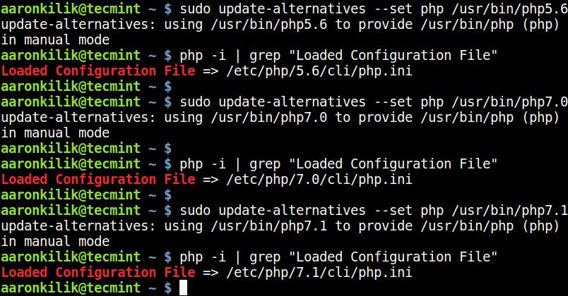 PHP構成ファイルを探す