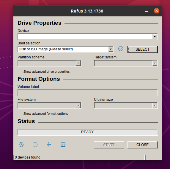 Ubuntuで実行されているRufusプログラム