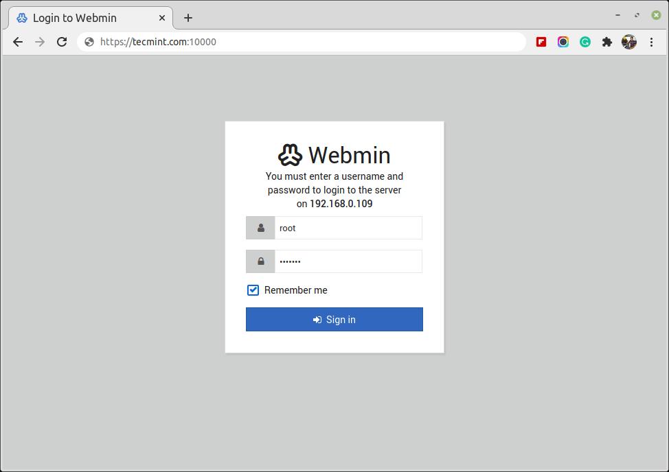 Webminログイン