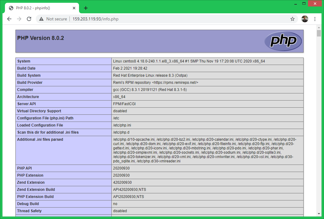 CentOS / RHEL8へのPHP8のインストール