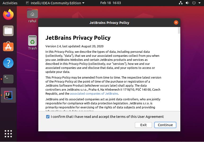 Ubuntu20.04でポリシーIntellijを受け入れる