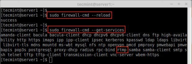 ファイアウォールに追加されたサービスを確認する