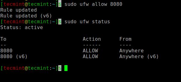 UFWファイアウォールでJenkinsポートを開く