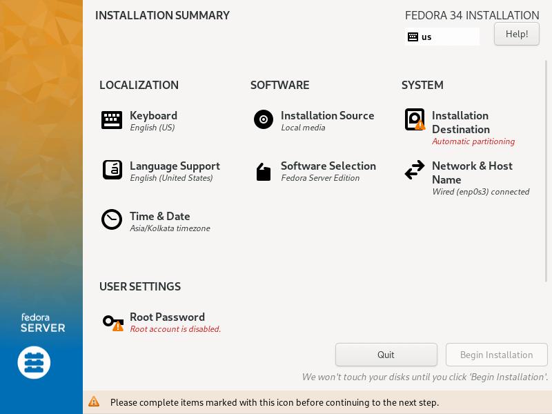 Fedoraサーバーのインストールの概要