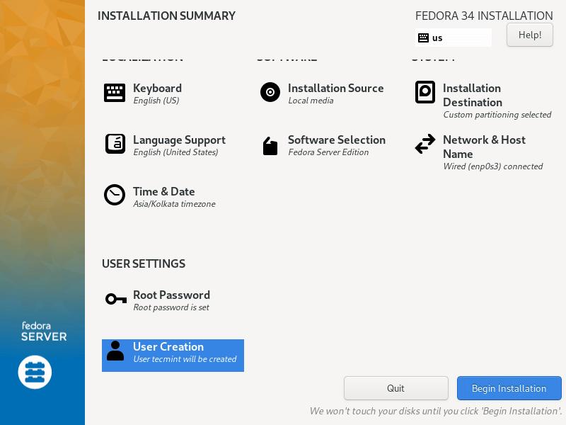 Fedoraのインストールを開始します