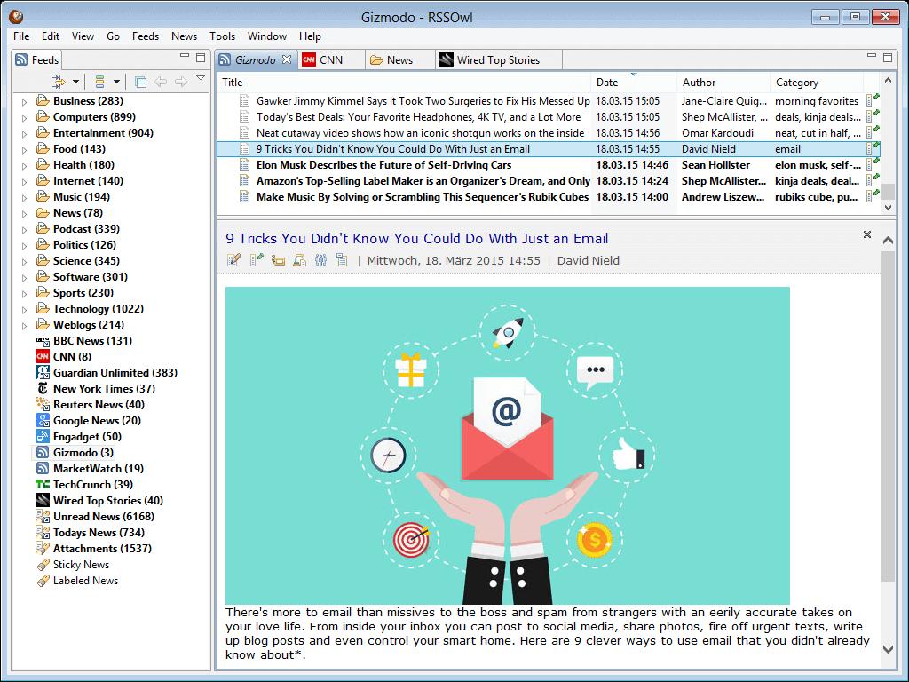 Linux用RSSOwlフィードリーダー