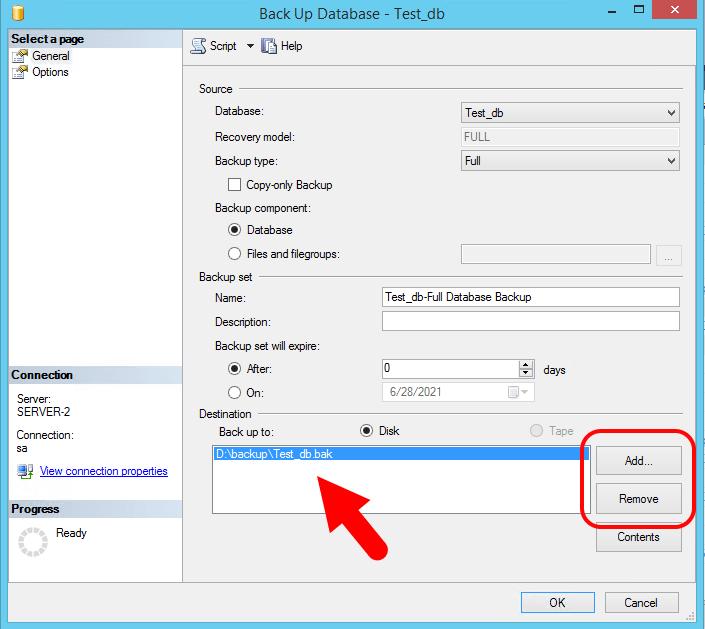 SQLServerデータベースのバックアップ-ステップ2
