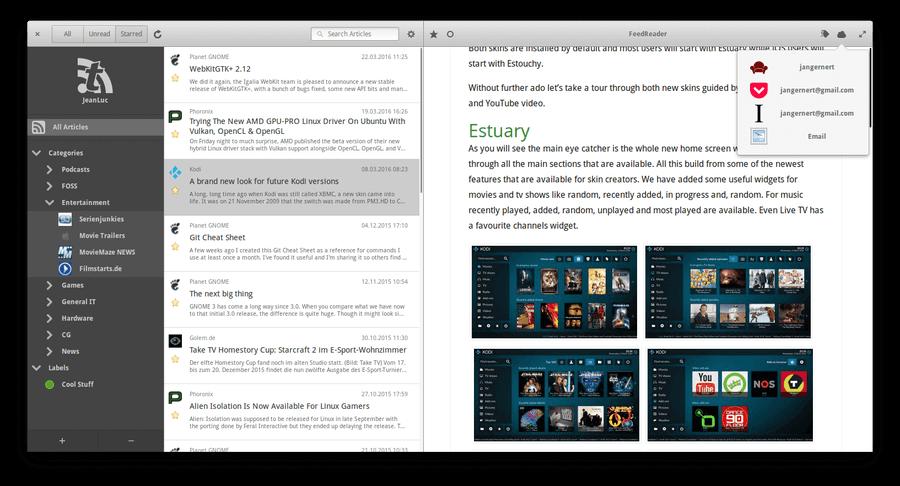 Linux用FeedReader